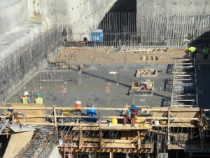 Over 480 cubic yards of concrete were poured yesterday. Things are taking shape at the Walcrest site.