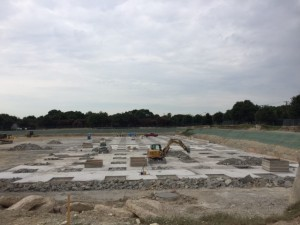 The concrete slab has been poured for the new pump station.