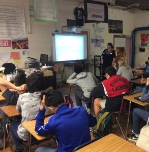 DWU's Cassia Sanchez speaks to Hillcrest High School students about Walcrest