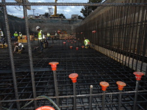 Crews continued adding rebar to form the bones of the pump station.